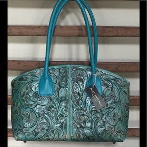 Juan Antonio Tooled Leather Handbag
